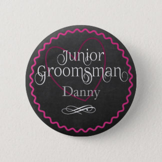 Chalkboard Pink Heart Wedding | Junior Groomsman 6 Cm Round Badge