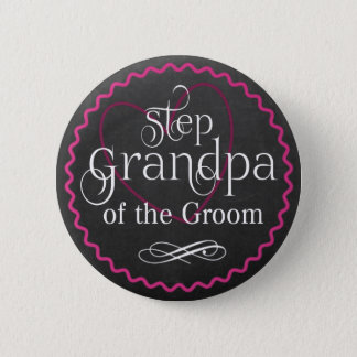 Chalkboard Pink Heart Wedding | Step Grandpa Groom 6 Cm Round Badge