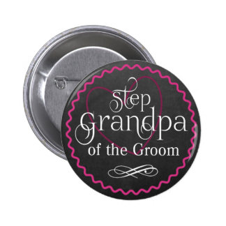 Chalkboard Pink Heart Wedding | Step Grandpa Groom 6 Cm Round Badge