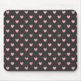 Chalkboard Pink Hearts Pattern Mousepads