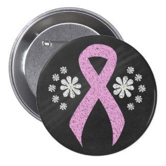 Chalkboard Pink Ribbon 7.5 Cm Round Badge