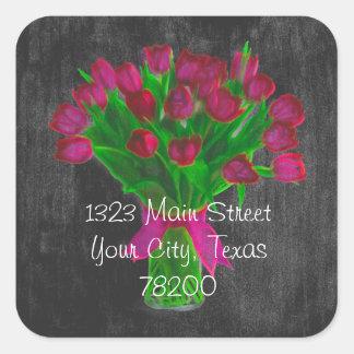 Chalkboard Pink Tulips Address Label Square Sticker