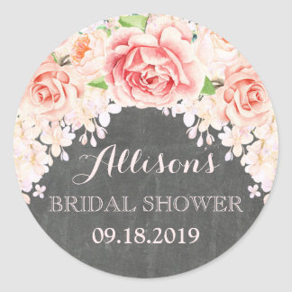 Chalkboard Pink Watercolor Flowers Bridal Shower Round Sticker