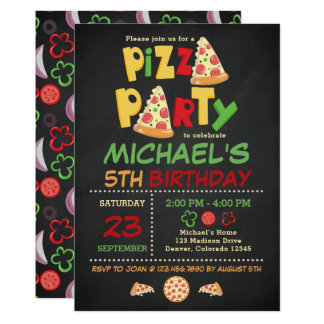 Chalkboard Pizza Party Birthday Invitation