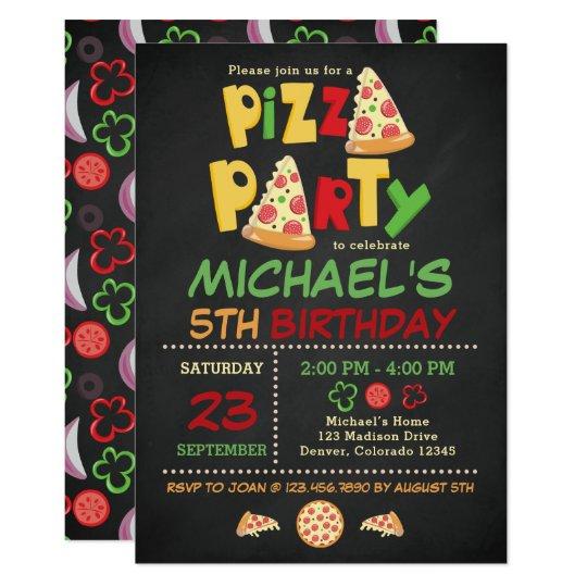 Chalkboard Pizza Party Birthday Invitation