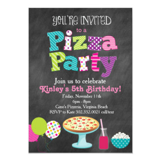 Chalkboard Pizza Party Invitation (Girl's)