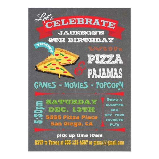 Chalkboard Pizza & Pyjamas Birthday Party Card