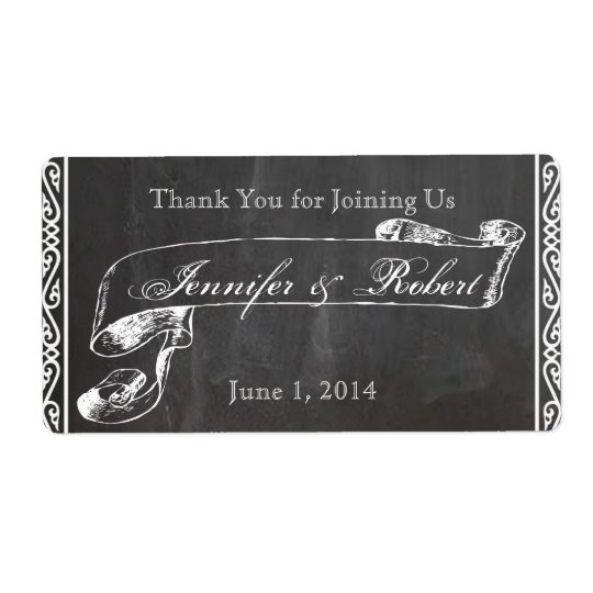 Chalkboard Posh Water Bottle Label