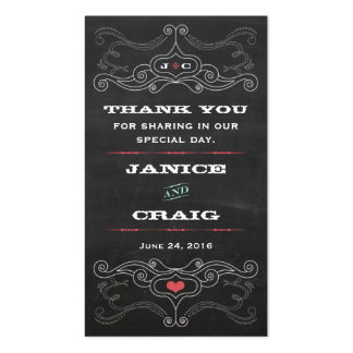 Chalkboard Poster (Pink & Mint) Wedding Favor Tags Pack Of Standard Business Cards