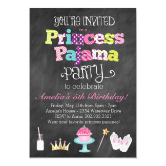 Chalkboard Princess Pajama Party Invitation
