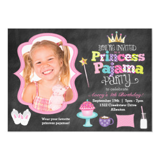 Chalkboard Princess Pajama Party Photo Invitation