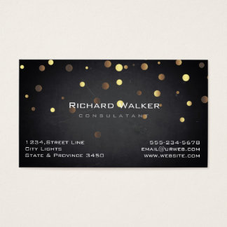 Chalkboard Professional Gold Confetti Black Business Card
