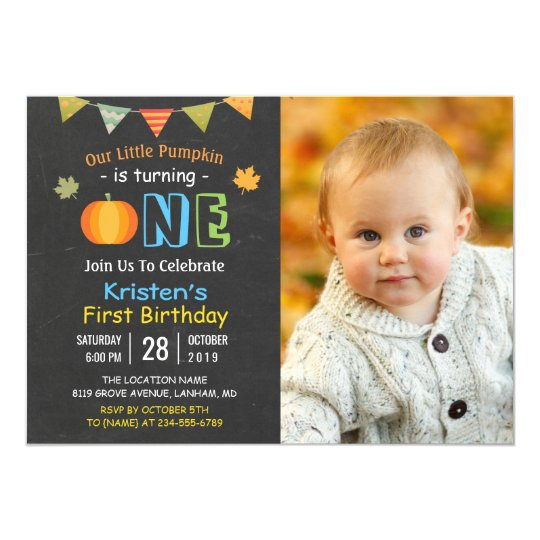 Chalkboard Pumpkin Baby First Birthday Photo Card