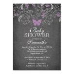 Chalkboard  Purple Butterfly Girl Baby Shower 13 Cm X 18 Cm Invitation Card