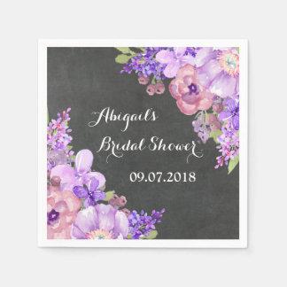 Chalkboard  Purple Floral Bridal Shower Napkins Disposable Serviette