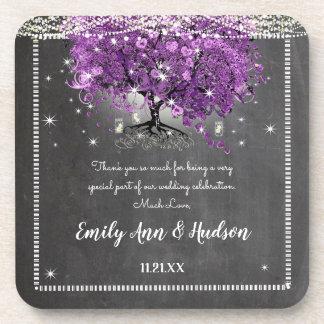Chalkboard Purple Heart Leaf Tree Wedding Coaster