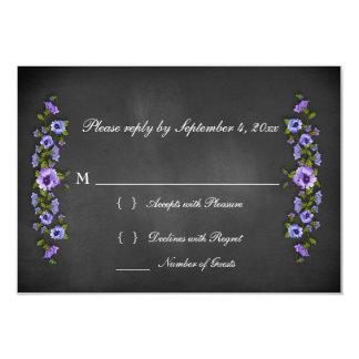 Chalkboard Purple Pansies RSVP Card