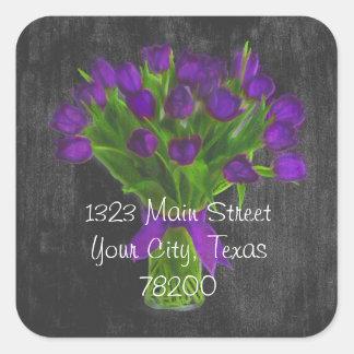 Chalkboard Purple Tulips Address Label Square Sticker