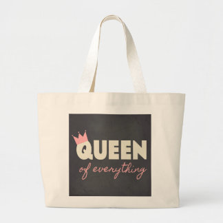 Chalkboard Queen of Everything Text Design Canvas Bags