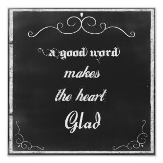 Chalkboard Quote A Good Word Poster