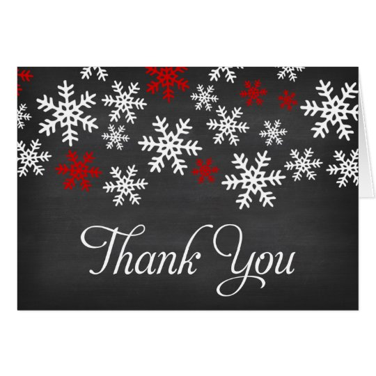 Chalkboard Red and White Snowflake Thank You Card