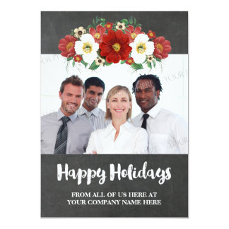 Chalkboard Red Floral Business Christmas Photo Card