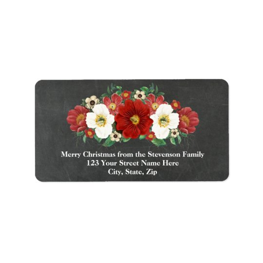 Chalkboard Red Floral Christmas Address Label