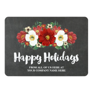 Chalkboard Red Floral Christmas Cards Business 13 Cm X 18 Cm Invitation Card
