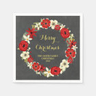 Chalkboard Red Floral Wreath Christmas Napkin Paper Napkin
