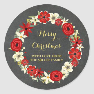 Chalkboard Red Floral Wreath Gold Christmas Classic Round Sticker