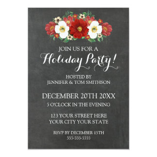 Chalkboard Red Flowers Christmas Party Invitation