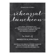 Chalkboard Rehearsal Luncheon Invite