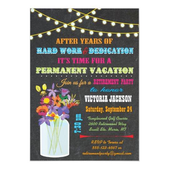 Chalkboard Retirement Party with mason jar flowers Card