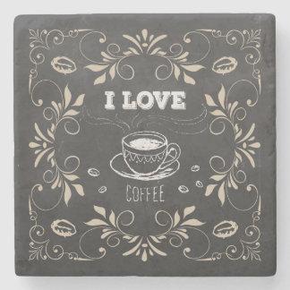 Chalkboard Retro Coffee Lovers Stone Coaster