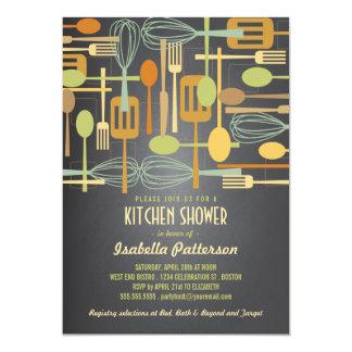 Chalkboard Retro Stock the Kitchen Bridal Shower 13 Cm X 18 Cm Invitation Card