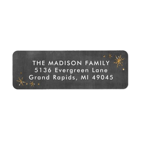 Chalkboard Return Address Label Faux Gold Glitter