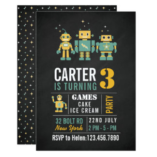 Chalkboard Robots Birthday Party Invitation
