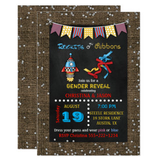 Chalkboard Rockets or Ribbons Gender Reveal 13 Cm X 18 Cm Invitation Card