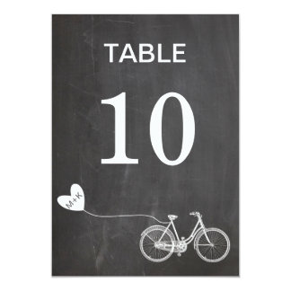 Chalkboard romantic bike initials table number card