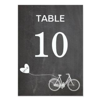 Chalkboard romantic bike initials table number card