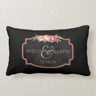 Chalkboard Rose Monogram Reversible Wedding Lumbar Lumbar Cushion
