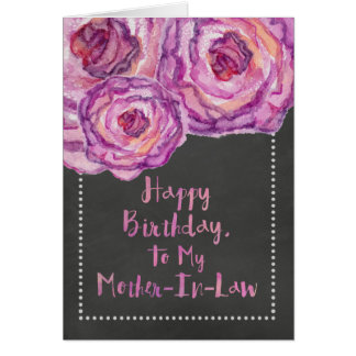 Chalkboard Roses Mother-In-Law Birthday Card