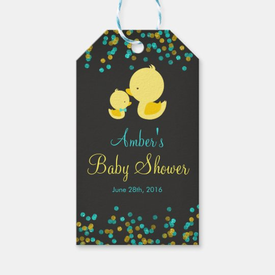 Chalkboard Rubber Duck Baby Shower Gift Tags