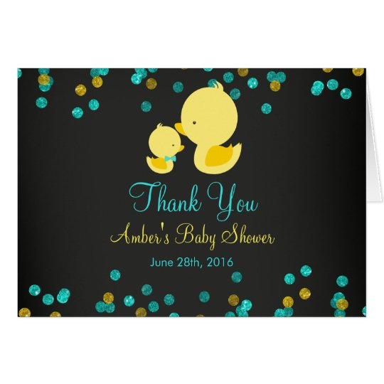 Chalkboard Rubber Duck Baby Shower Thank You Card