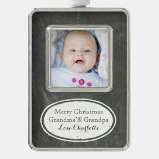 Chalkboard Rustic Grandparents Christmas Ornament Silver Plated Framed Ornament