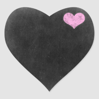 Chalkboard Rustic Shabby Chic Pink Chalk Love Heart Sticker