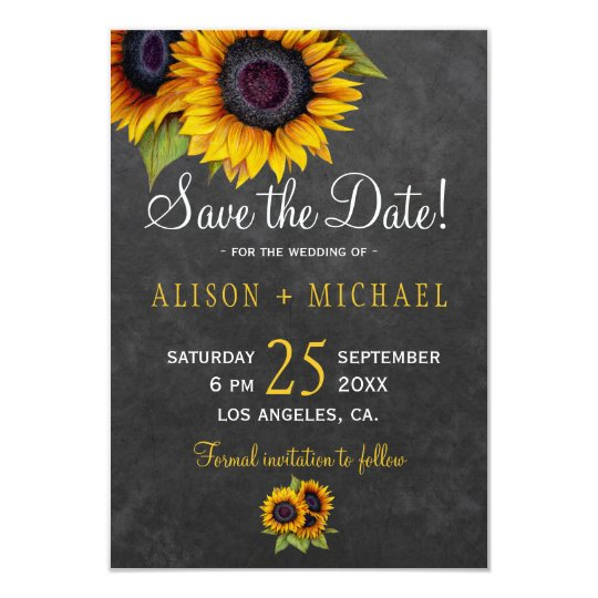 Chalkboard rustic sunflowers save the date wedding card