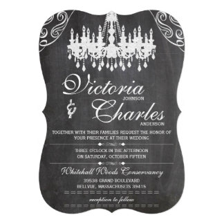 Chalkboard Rustic Vintage Typography Chandelier Personalized Invites