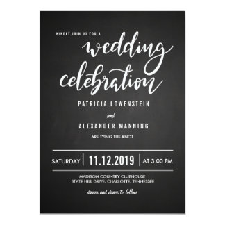 Chalkboard Rustic Wedding Celebration Typography Card