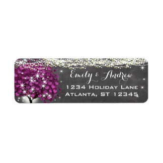 Chalkboard Sangria Wine Heart Leaf Tree Return Address Label